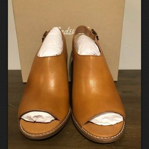 Madewell The Cary Sandal Heeled Amber Brown size 9